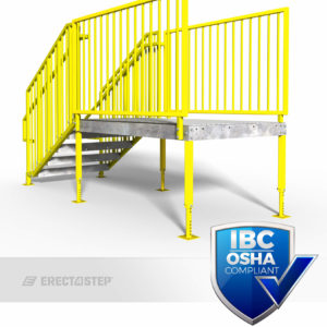 OSHA Yellow, Portable Stairs, Adjustable Legs, Direct Entry, IBC Compliant