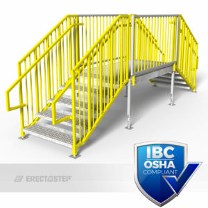 OSHA Yellow, Portable Stairs, Adjustable Legs, Double Stair, Crossover, IBC Complaint