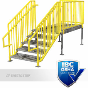 OSHA Yellow, Portable Stairs, Adjustable Legs, Left Entry, IBC Complaint