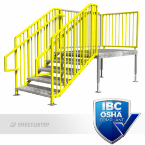 OSHA Yellow, Portable Stairs, Adjustable Legs, Right Entry, IBC Complaint