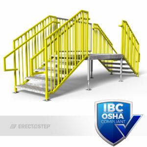 OSHA Yellow, Portable Stairs, Adjustable Legs, Multiple Entries, IBC Complaint